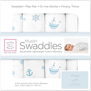 SwaddleDesigns Muslin Swaddle Blanket Little Ships, Ahoy!, Dots and White