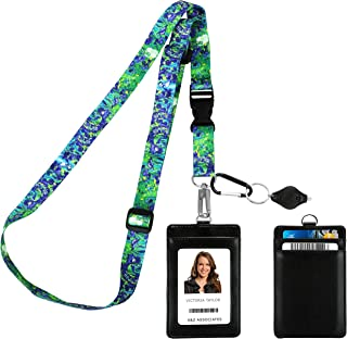 Vincent Van Gogh Irises Adjustable Lanyard with PU Leather ID Badge Holder with 3 Card Pockets & Matching Note Card. Carab...