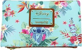 Loungefly x Disney Lilo & Stitch 薄荷花卉全身印花拉链钱包