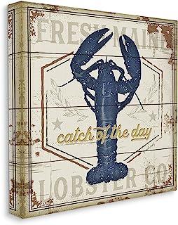Stupell Industries Catch of The Day 复古蓝色龙虾板图案,由 Jennifer Pugh 帆布墙艺术设计,43.78 x 45.78 厘米,米色