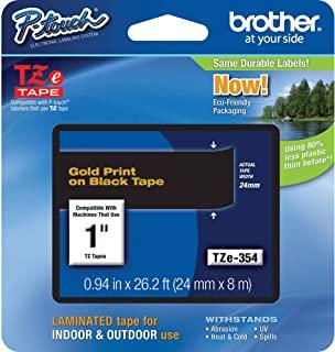 Brother 兄弟 P-Touch TZE-354 胶带 1 英寸(24 毫米)标准层压 P-Touch 胶带 金色黑色 层压 室内外用 防水 8 米 单包