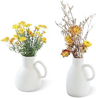 2 件套白色陶瓷花瓶,带手柄,哑光艺术白色花瓶 - 花瓶装饰花瓶,臀部,优雅,优雅,适合农舍,客厅装饰(6.5 英寸和 5.8 英寸白色)