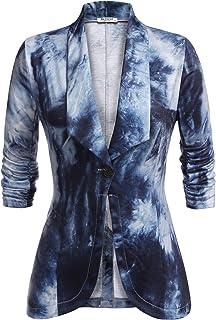 Beyove 女式七分弹力褶皱袖前开襟轻质办公西装外套,扎染 XXL 码