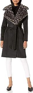 Via Spiga 女士单排扣羊毛长夹克,人造毛领