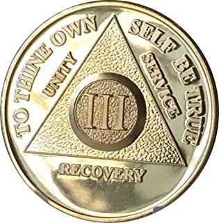 3 年 24K 镀金 AA(匿名*精) - Sober / Sobriety / 生日 / 周年纪念日 / *章 / 硬币 / 芯片