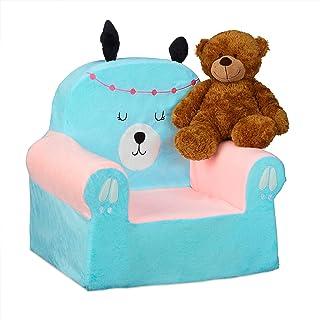 Relaxdays 儿童扶手椅,柔软的儿童沙发,适合男孩和女孩,Lama 设计,婴儿扶手椅 47 x 52 x 37 厘米,浅蓝色/粉红色,1 件
