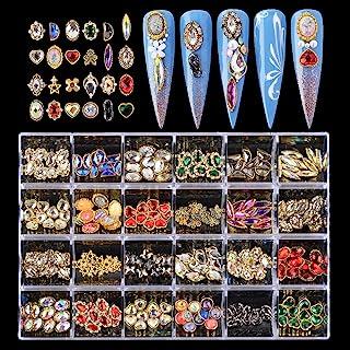 BAIYIYI 3D 美甲吊坠水钻用于美甲艺术 - 24 种奢华金属美甲艺术饰品 3D 水晶钻石宝石饰品 金属金色水钻 DIY 工艺品 *设计装饰