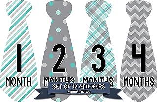 Month In Motion 月龄婴儿领带贴纸 - 男孩月里程碑领带贴纸 - 连体衣月贴纸 - *年婴儿照片道具 - 送礼礼物 - 新生儿纪念品