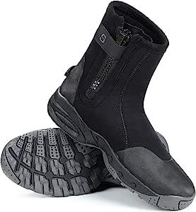Sarhlio 氯丁橡胶潜水靴 5 毫米高拉链防滑橡胶鞋底潜水服靴,适用于水上运动、水肺潜水浮潜皮划艇