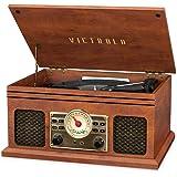 Victrola VTA-250B-MAH 4 合 1 怀旧蓝牙唱片播放器带 3 速转盘 FM 收音机和Aux-in 红…