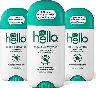 Hello White Sage + 桉树香体膏,含乳木果油 + 男士,24 小时气味保护,无铝 + 无烘焙苏打,无纯素,不含防腐剂,2.6 盎司(约 73.7 克),3 支装