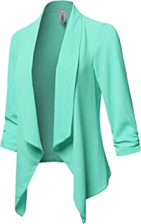 Awesome21 女式纯色花卉轻质七分袖开襟薄外套