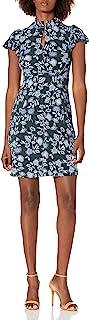 Amazon Brand - Lark & Ro 女式轻质褶皱短袖开领修身喇叭连衣裙