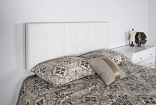 Boyd Sleep Mia 软垫三片式可调节高度床头板,通用适合空气床垫、平台床框架床垫和箱弹簧:簇绒人造皮革、白色、双人床/全套