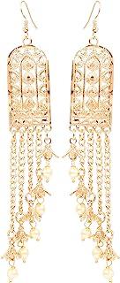 全新! Touchstone 印度宝莱坞 Desire 创意手工切割工艺 工作轻量绿珠 设计师珠宝长吊吊灯耳环 复古金色调女式。