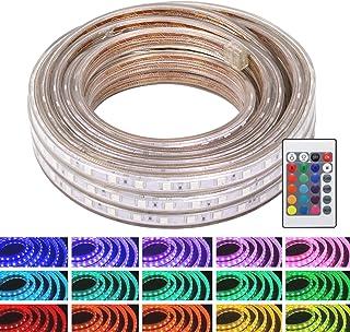 WYZworks SMD 5050 LED 柔性可调光室内/室外灯带(16 种颜色),带遥控和 LED 控制器/红外接收器 - 50,100,150 英尺(150 英尺) 多种颜色 25 FT LED-5050-16C-RM-25F