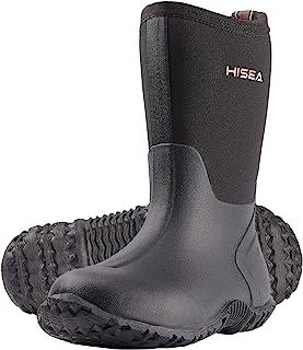 Hisea 儿童橡胶雨靴防水耐用氯丁橡胶泥浆靴,适合幼儿男孩和女孩