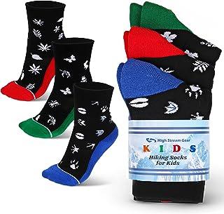 儿童徒步袜 - 3 件装,适合女孩和男孩,适合运动、户外冒险、露营和室内活动