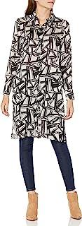 Kasper 女式抽象几何印花缎面牛津衬衫上衣