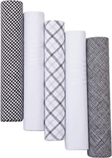 Pierre Cardin 设计师时尚男士手帕 5 件套礼品套装,纯色和图案,* 纯棉