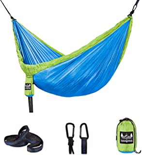 Better Outdoor Supply 露营吊床套件单双人带树带 - 耐用 - 轻便 - 用于放松室内/室外 - 旅行携带多种颜色