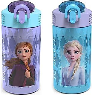 Zak Designs 迪士尼冰雪奇缘 2 儿童水瓶套装,带可重复使用的吸管和内置便携环,塑料制成,防漏水瓶设计(Elsa & Anna,16 盎司(约 473.2 克),不含双酚 A,2 件套