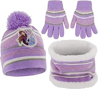 Disney 迪士尼冬季帽子、围巾和儿童幼儿手套,冰雪奇缘婴儿无檐*帽,适合 2-4 岁和 4-8 岁男孩女孩使用,紫色手套套装 - 年龄 4-7 岁