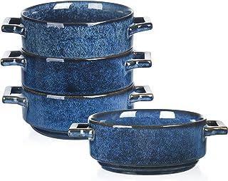 Vicrays 陶瓷汤碗带手柄,24 盎司(约 680.4 克)陶瓷汤勺,适用于法式洋葱汤、谷物、牛肉炖、冷却、意大利面、锅馅饼、微波炉和烤箱,4 件套(蓝色)
