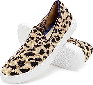 AOMAIS 女式针织懒人鞋透气网眼乐福鞋休闲一脚蹬运动鞋网球鞋