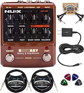 NUX Roctary Force 旋转扬声器多效果踏板包带 Blucoil Slim 9V 电源交流适配器,2 包 10 英尺直乐器电缆(1/4英寸),2 根接线电缆和 4 个吉他拨片