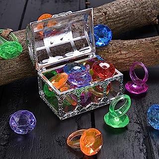 潜水宝石泳池玩具彩色钻石戒指套装带宝藏海盗盒夏季游泳宝石潜水玩具套装潜水投掷玩具套装水下游泳玩具适用于泳池使用珍宝礼品套装(银色白色)