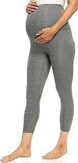 V VOCNI 孕妇七分裤打底裤女式运动服瑜伽裤口袋锻炼怀孕七分裤 F# 灰色 Small