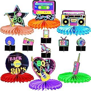 12 件 80 年代蜂巢中心装饰背面 80 年代桌布 80 年代派对纸中心装饰标志桌面装饰嘻哈派对装饰适合 70 年代 80 年代怀旧迪斯科生日派对,12 种风格