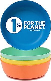 ECO Matters【可用于微波炉】竹制幼儿碗 - 4 件套 - 环保*儿童竹碗 - 可用洗碗机清洗,可用微波炉加热 - 天然不含双酚 A 可生物降解婴儿碗