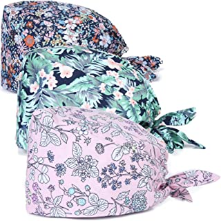 Kousenpu 可调节工作帽带防汗带,Bouffant 系带后帽,适合男士和女士,均码