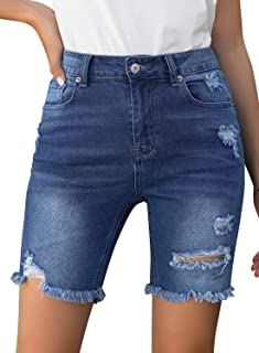 GRAPENT 女式牛仔破洞百慕大短裤做旧及膝弹力牛仔裤
