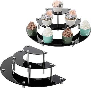 MyGift 6 件套黑色亚克力半圆形服务器纸杯蛋糕甜点展示架,桌面收藏展示立板
