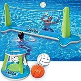 充气排球网和篮球圈*和蓝色泳池浮动套装;含球适合儿童和成人,夏季泳池游戏,夏季浮动,排球场(266.74 厘米 x 71…