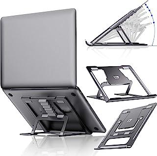 ELV 可调节笔记本电脑支架,兼容苹果 Mac MacBook Pro/Air 10 至 15.6 英寸笔记本电脑,防滑防刮铝制通风便携式人体工程学桌面架,适用于办公桌