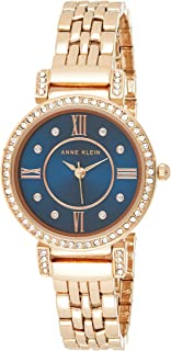 Anne Klein 女士施华洛世奇水晶玫瑰金色调手链手表,Rose Gold/Blue