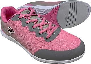 SaVi 保龄球 女式 Savannah 粉色/灰色网眼保龄球鞋 超轻系带 通用鞋底 适合右撇子或左撇子保龄球