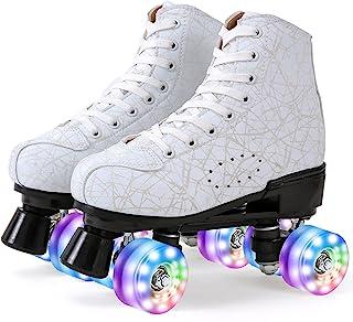 女式室内户外滚轮滑冰鞋 四轮发光女孩初学者滚轮鞋