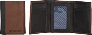 Ben Sherman 皮革三折钱包,带身份证窗口(葡萄) Brown with Black Color Block 均码