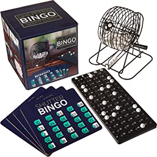 Shutter Bingo 套装 - 完整游戏,带可重复使用的数字卡、塑料球、Raffle Drum Cage 和主板 - 家庭之夜、娱乐中心、乐图游戏、筹款、派对和大团体用品