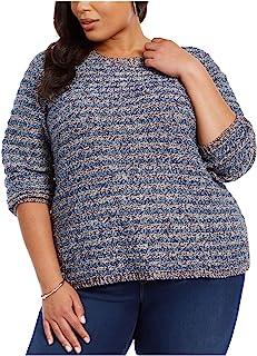 Style & Company 女式蓝色纹理针织七分袖圆领毛衣尺码 3X