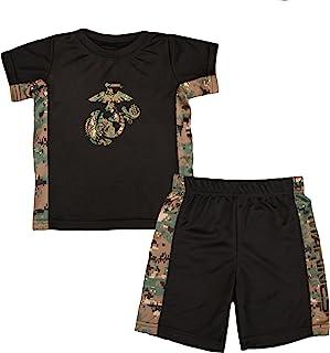 TC 幼儿儿童美国*陆战队标志林地迷彩运动短裤和 T 恤套装