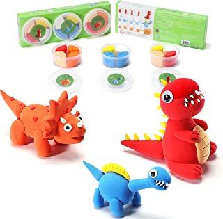 CraftyClay 儿童橡皮泥 - 风干模型粘土套装(3 杯套装)(婴儿恐龙兄弟)