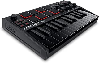 AKAI 专业 MPK 迷你 MK3 – 25 键 USB MIDI 键盘控制器,配有 8 个背光鼓垫,8 个旋钮和音乐制作软件(黑色)