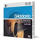 D'Addario D'Addario 原声吉他弦 80/20青铜 EJ 【国内正规商品】EJ11-3D 3セットパック
