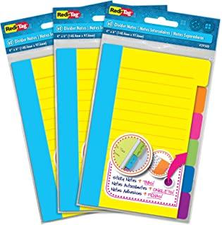 Redi-Tag 分隔便签纸,带标签自粘胶内衬便条,每包 60 张横格便签,4 x 6 英寸(约 10.2 x 15.2 厘米),各种霓虹色,3 包 (10245)